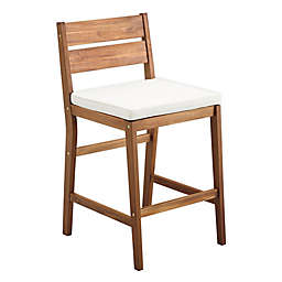 Forest Gate 2-Piece Acacia Wood Patio Counter Stool Set in Brown with Cushions