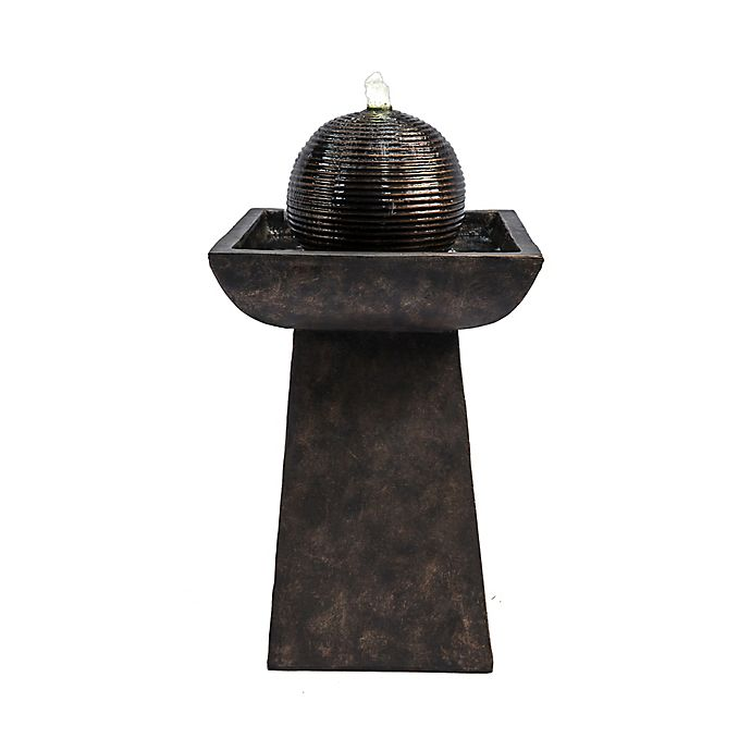 Alternate image 1 for Peaktop Outdoor Pedestal with Orb Fountain and LED Light