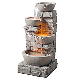Peaktop Stacked Stone Tiered Bowls Fountain with LED Light