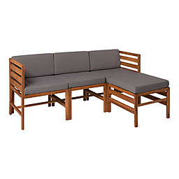 Forest Gate™ 4-Piece Modular Acacia Wood Patio Sectional Set