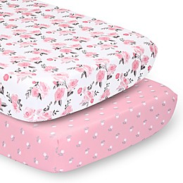 The Peanutshell™ 2-Pack Rose Floral Fitted Crib Sheets