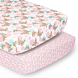The Peanutshell™ 2-Pack Butterfly Floral Fitted Crib Sheets