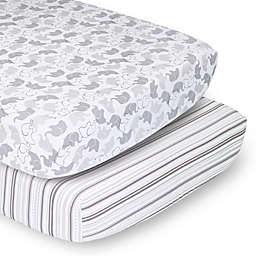 The Peanutshell™ 2-Pack Elephant Stripe Fitted Crib Sheets in White/Grey