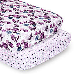 The Peanutshell™ 2-Pack Purple Butterfly Fitted Crib Sheets