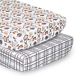 PS by The Peanutshell™ 2-Pack Fitted Crib Sheets in Grey/Woodland Faces