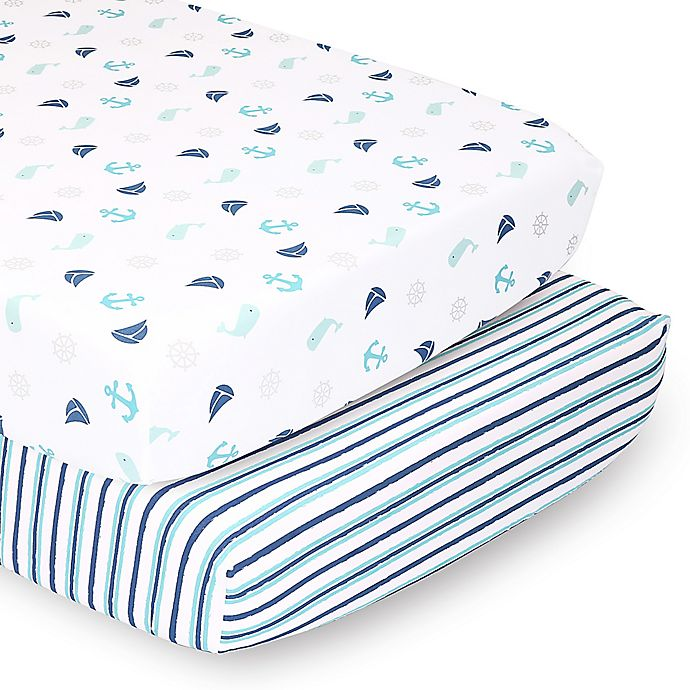 Alternate image 1 for The Peanutshell™ Fitted Crib Sheets in Nautical & Blue/Green Stripe (2-Pack)