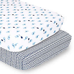 The Peanutshell™ Fitted Crib Sheets in Blue Elephant/Tribal (2-Pack)