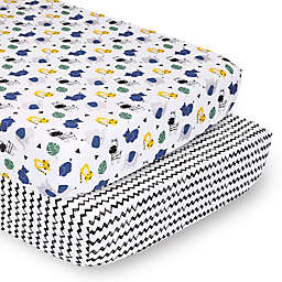 PS by The Peanutshell™ 2-Pack Fitted Crib Sheets in Safari/Black Chevron