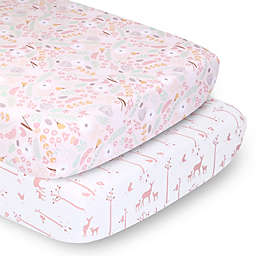 PS by The Peanutshell™ 2-Pack Fitted Crib Sheets in Pink Whimsy/Pink Woodland