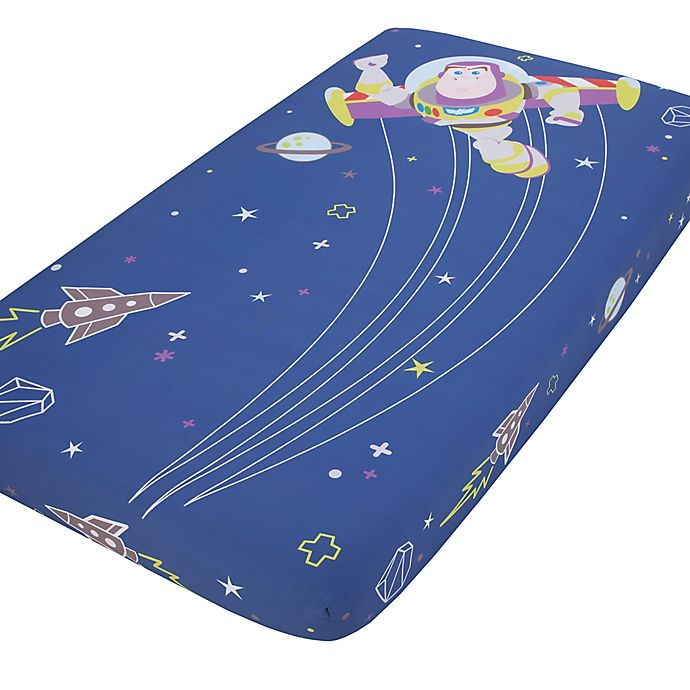 Alternate image 1 for Disney® Buzz Lightyear Photo Op Fitted Crib Sheet in Blue