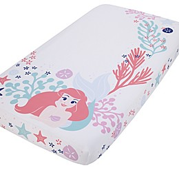 Disney® Little Mermaid Ariel Photo Op Fitted Crib Sheet in Coral
