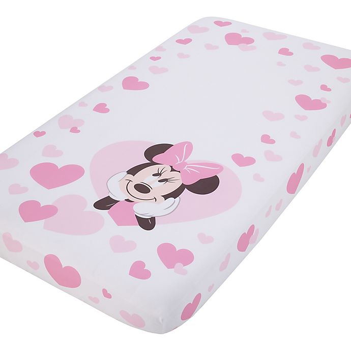 Alternate image 1 for Disney® Minnie Mouse Photo Op Fitted Crib Sheet in Pink