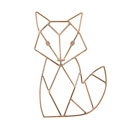 Fox Shaped Wire Nursery Wall Décor, Copper Finish
