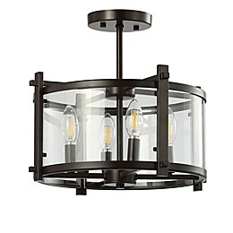 JONATHAN  Y Hampdon LED Flush Mount in Oil Rubbed Bronze with Glass Shade