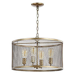 JONATHAN  Y Pen 4-Light LED Chandelier in Gold with Metal Shade