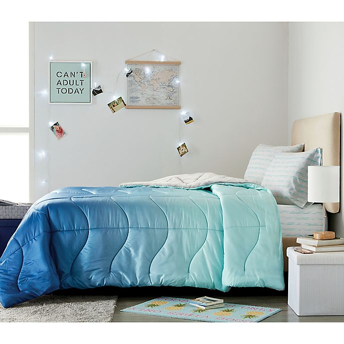 Alternate image 1 for Wamsutta® Puffer 3-Piece Twin/Twin XL Comforter Set in Blue/Teal
