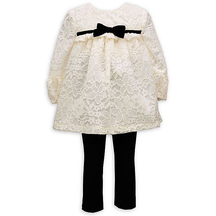Alternate image 1 for Bonnie Baby 2-Piece Ivory Lace Dress and Leggings Set with Black Bow