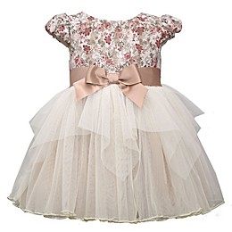 Bonnie Baby Champaign Bow Dress in Taupe