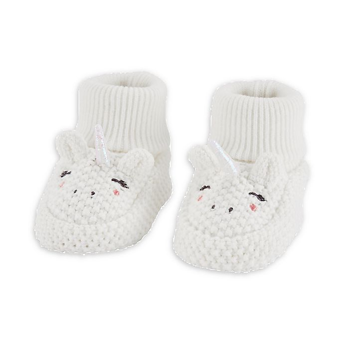 Alternate image 1 for carter's® Newborn Crochet Unicorn Booties in Ivory