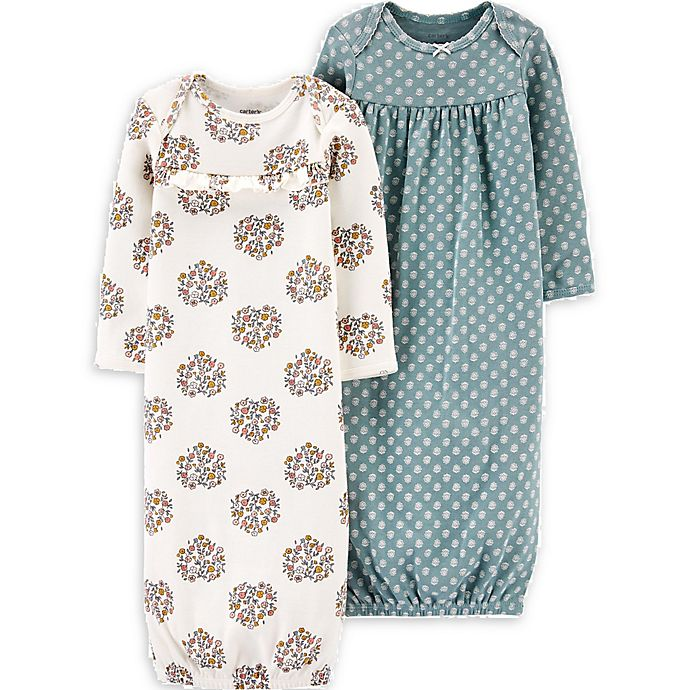 Alternate image 1 for carter's® 2-Pack Floral Long Sleeve Gowns in Mint