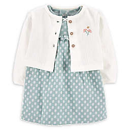 carters® Size 6M 2-Piece Bodysuit Dress & Cardigan Set in Mint