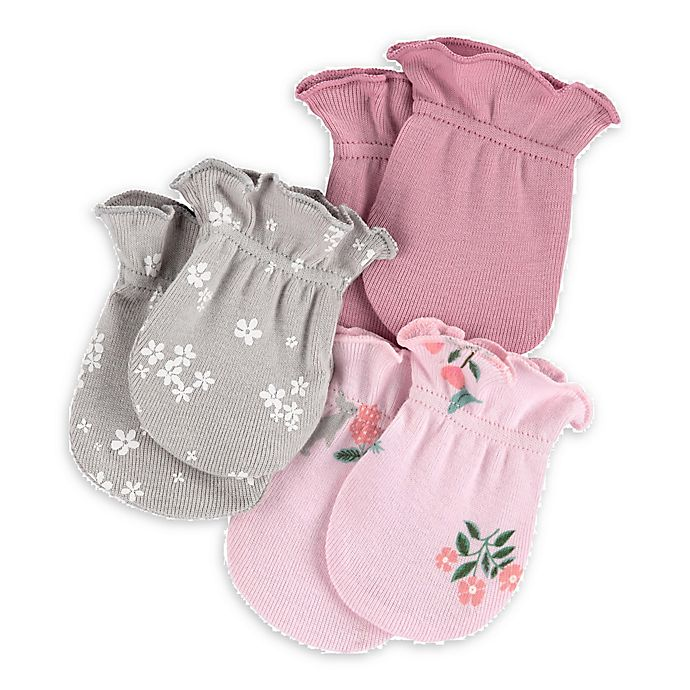 Alternate image 1 for carter's® 3-Pack Floral Mittens