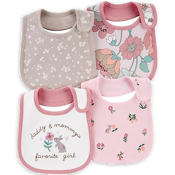 Alternate image 1 for carter's® 4-Pack Bunny Floral Bibs