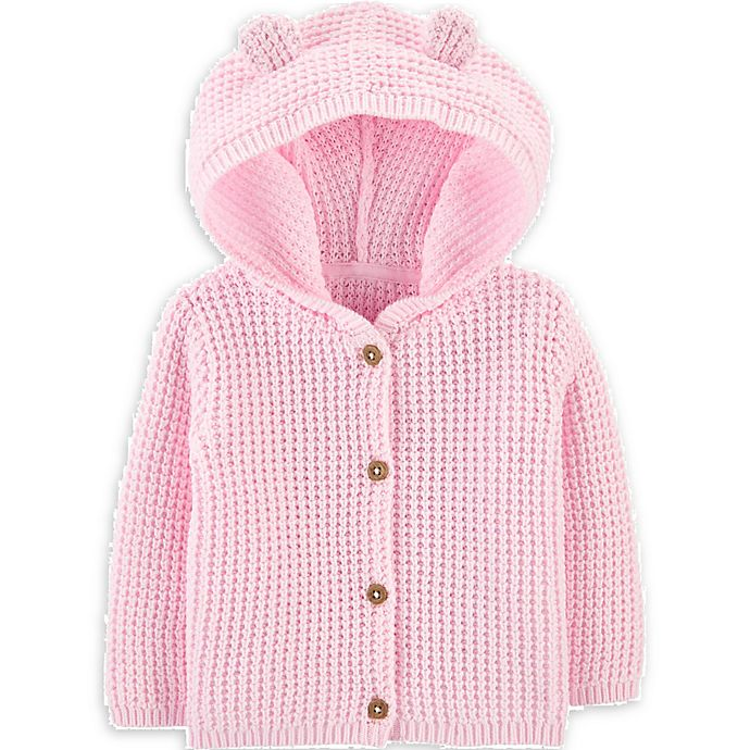 Alternate image 1 for carter's® Size 6M Hooded Cardigan in Pink