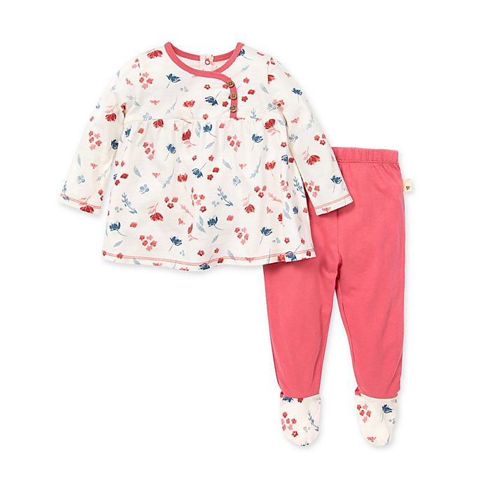 Alternate image 1 for Burt's Bees Baby® Size 3M 2-Piece Indigo Fields Tunic and Footed Pant Set in Floral