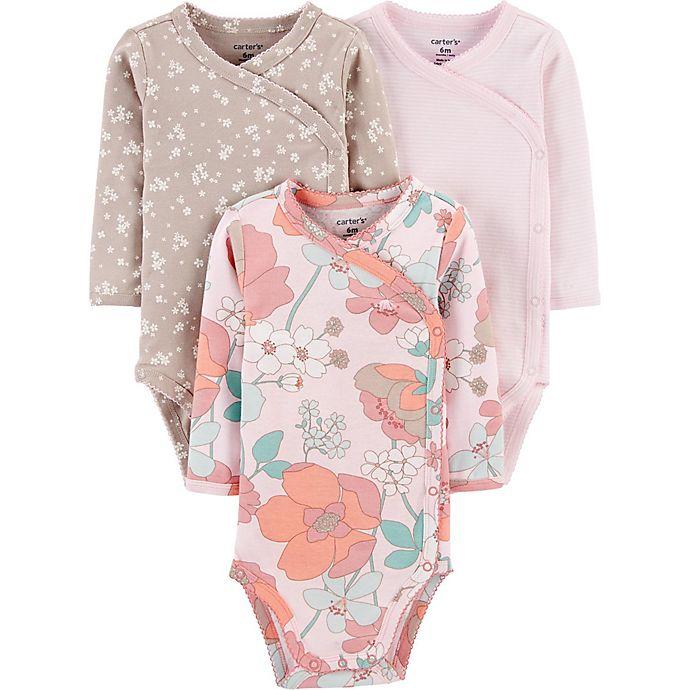 Alternate image 1 for carters® 3-Pack Floral Side-Snap Long-Sleeve Bodysuits