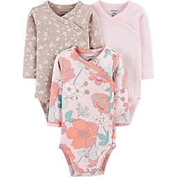 carters® 3-Pack Floral Side-Snap Long-Sleeve Bodysuits