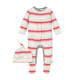 Burt's Bees Baby® 2-Piece Foothills Stripe Organic Cotton Jumpsuit and Hat Set