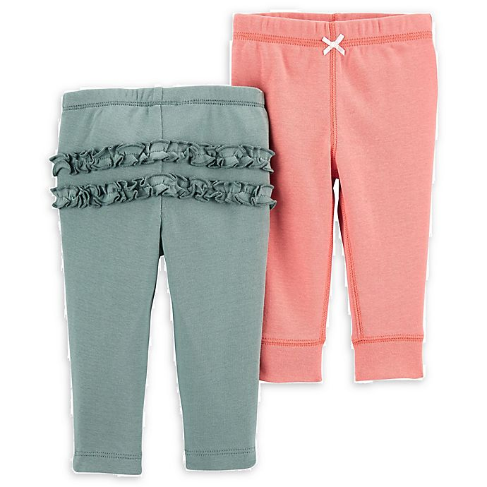 Alternate image 1 for carter's® 2-Pack Cotton Pants in Coral/Green