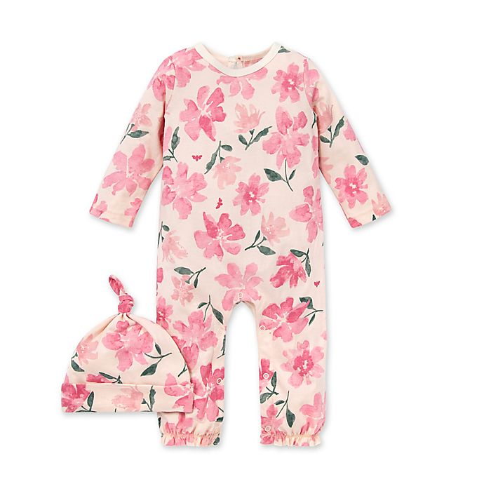 Alternate image 1 for Burt's Bees Baby® 2-Piece Botanical Gardens Organic Cotton Jumpsuit and Hat Set