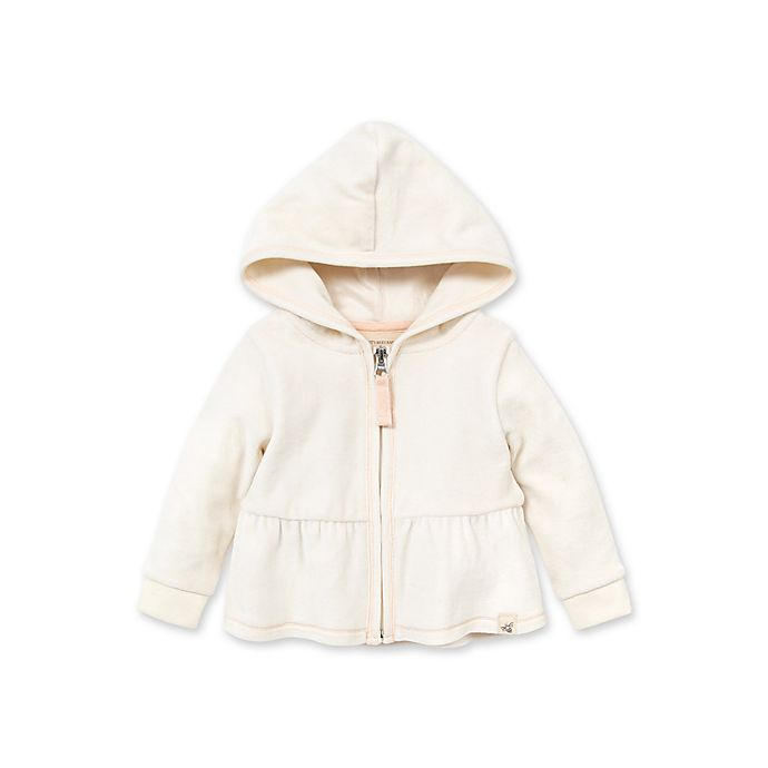 Alternate image 1 for Burts's Bees Baby® Size 6M Velour Peplum Hoodie in Ivory