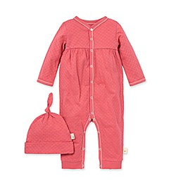 Burt's Bees Baby® 2-Piece Honeycomb Pointelle Jumpsuit and Hat Set in Pink