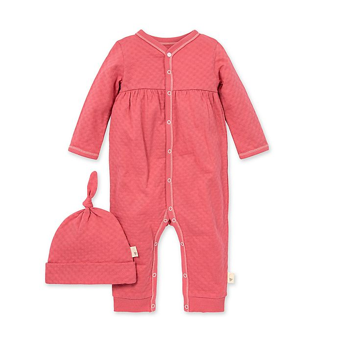 Alternate image 1 for Burt's Bees Baby® Size 6M 2-Piece Honeycomb Pointelle Jumpsuit and Hat Set in Pink