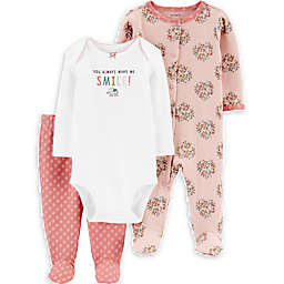 carter's® 3-Piece Smile Bodysuit, Footie, and Footed Pant Set