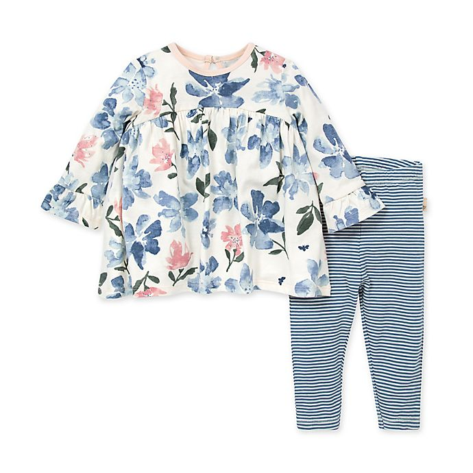 Alternate image 1 for Burt's Bees Baby® 2-Piece Botanical Gardens Tunic and Legging Set in Blue