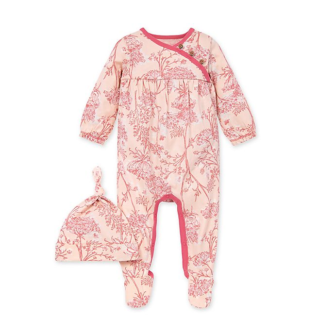 Alternate image 1 for Burt's Bees Baby® 2-Piece Fairy Tale Floral Jumpsuit and Hat Set in Pink