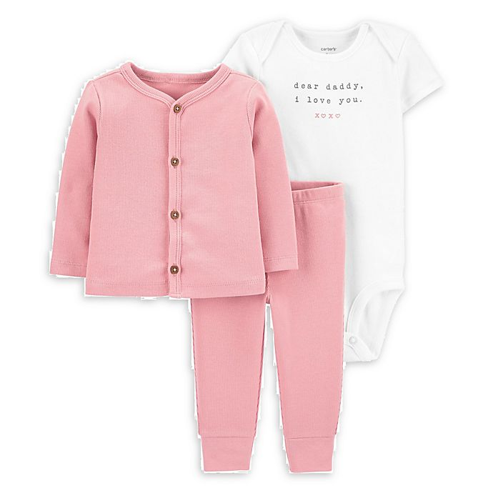 Alternate image 1 for carter's® 3-Piece Daddy Bodysuit, Cardigan and Pant Set in Pink
