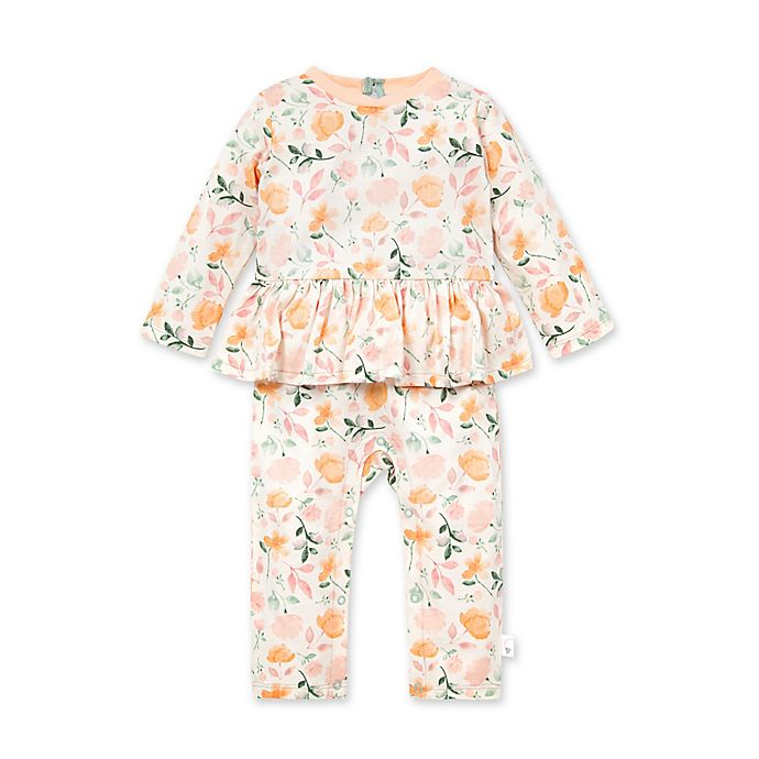 Alternate image 1 for Burt's Bees Baby® Newborn Montana Meadow Jumpsuit in Ivory