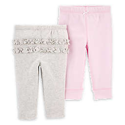 carter's® Newborn 2-Pack Cotton Pants in Pink/Grey