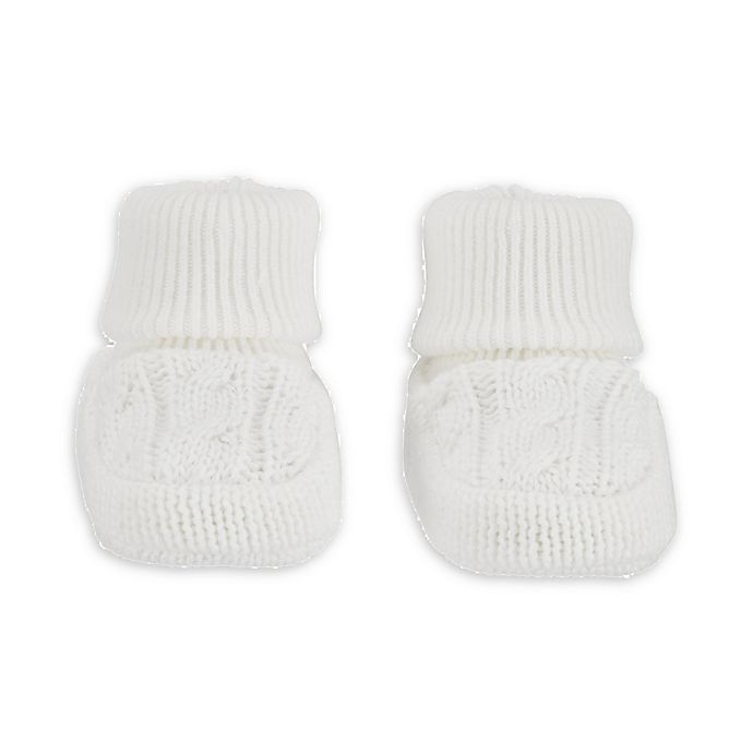 Alternate image 1 for carter's® Newborn Cable Knit Bootie in White