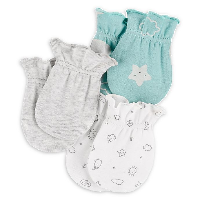 Alternate image 1 for carter's® 3-Pack Clouds Mittens in White