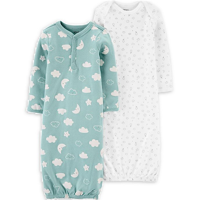 Alternate image 1 for carter's® Newborn 2-Pack Clouds Gowns in Mint