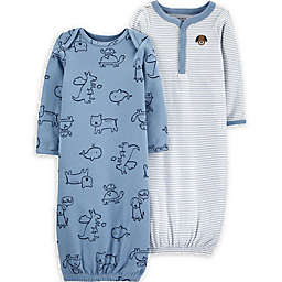 carter's® Newborn 2-Pack Animal Stripes Gowns in Blue