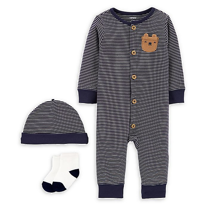 Alternate image 1 for carter's® Size 9M 3-Piece Bear Pajamas, Cap, and Socks Set in Navy