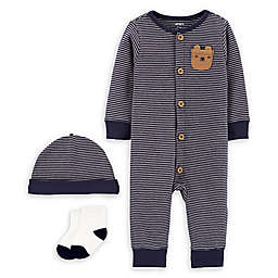 carter's® Size 3M 3-Piece Bear Pajamas, Cap, and Socks Set in Navy
