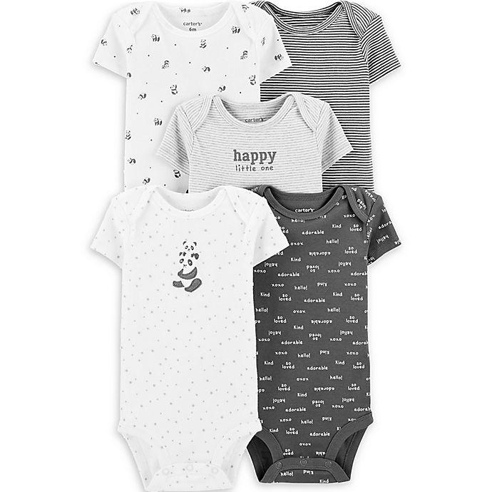 Alternate image 1 for carter's® Newborn 5-Pack Panda Bodysuits